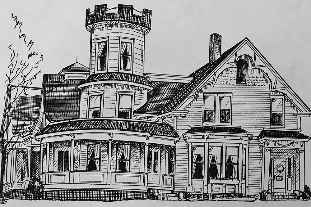 Pencil drawing of the front of the house
