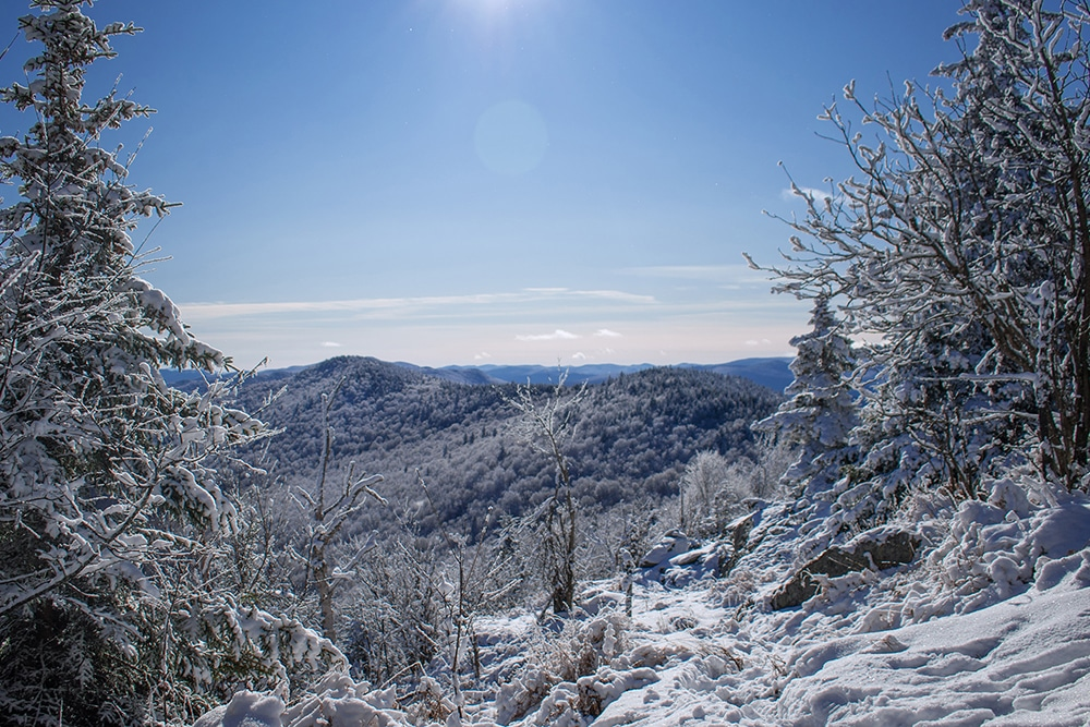 Vermont Mountain View in winter covered in snow